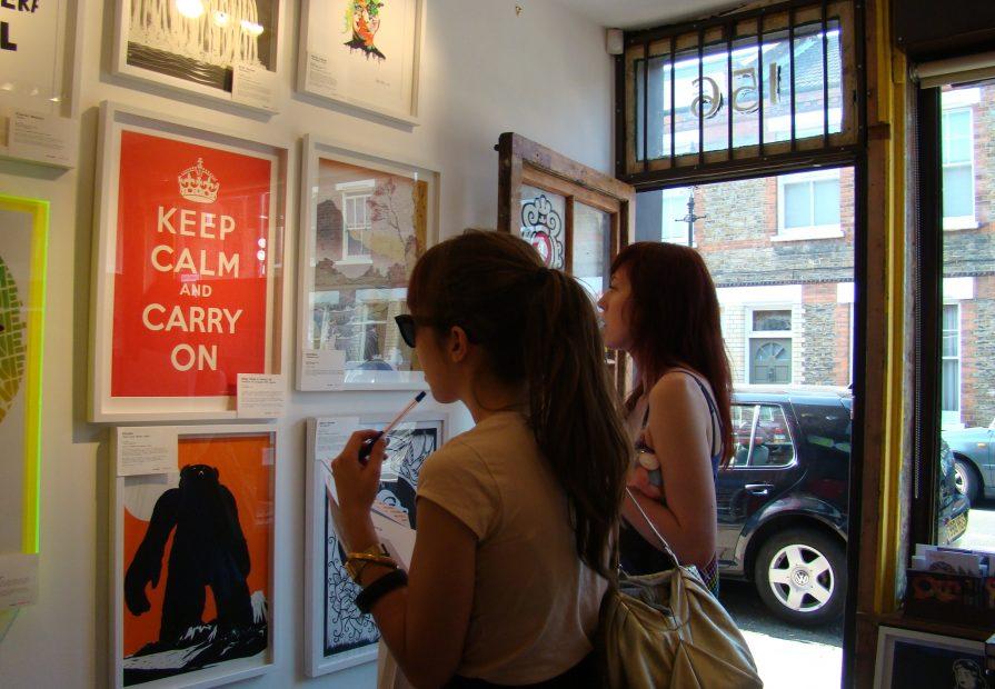 Girls looking at prints